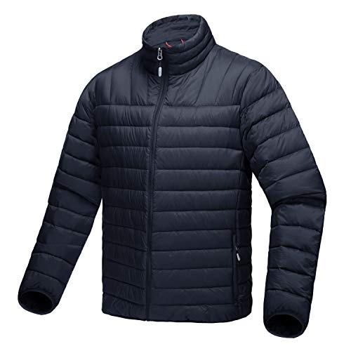 Nylon Quilted Jacket Bomber (CRYSULLY Men's Down Bomber Nylon Outwear Quilted Coat Slim Fit Sportswear Down Jacket Black)