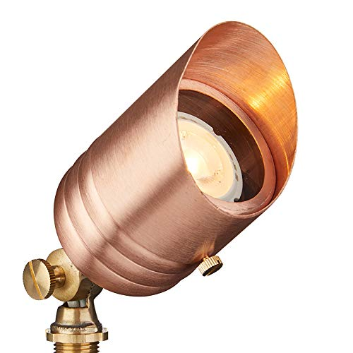 VOLT Lighting 12V Solid Copper Spotlight (LED Bulb & Ground Stake Included) - UL Listed Low-Voltage Outdoor Uplight for Yard, Lawn, Accent, Landscape Lighting ()