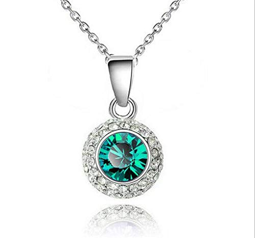 (Fashion Women Green Crystal Rhinestone Round Silver Chain Pendant Necklace Hot пјЃ )