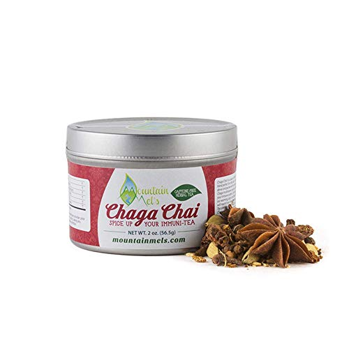 - ~Chaga Chai~ All Natural Loose Leaf Herbal Tea - Warming Caffeine and Sugar Free Chai Tea Featuring Chaga Mushrooms, Up to 60 Cups of Decaf Tea Per Tin