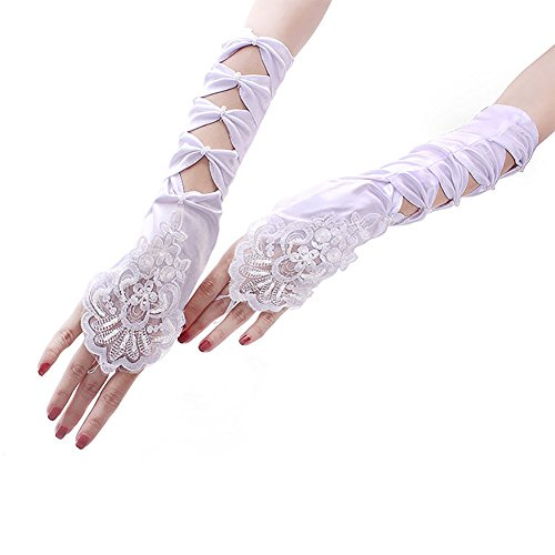 BAOBAO Women Hallow Out Lace Flower Satin Long Fingerless Gloves Wedding Bridal Pary Opera