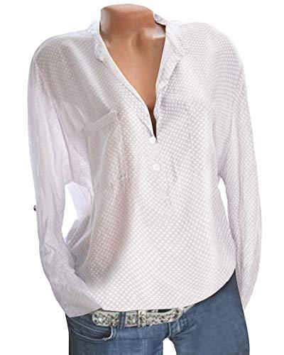 Femmes Hauts Manches Blanc Chemisier Shirts Et T Chemise Pois Button Imprimer Longues Loose Blouse Ywtq4Fxx