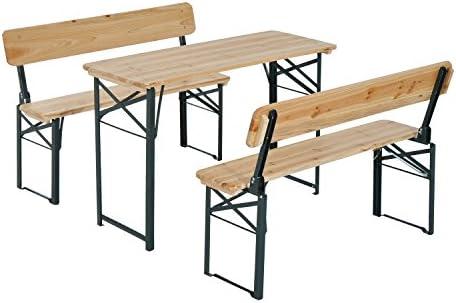 Outsunny – Mesa de camping portátil (plegable caballete cerveza y 2 banco de madera muebles de jardín patio comedor fiesta barbacoa sillas taburetes: Amazon.es: Jardín