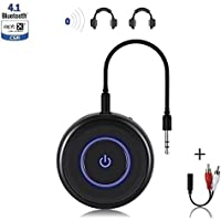 Friencity Bluetooth V4.1 Audio Transmitter Receiver with aptX Low Latency, 2-in-1 Wireless Bluetooth Adapter with 3.5mm / 2.5mm RCA Audio Cable for TV, Home Stereo, MP3, CD Player, PC, Car Speaker
