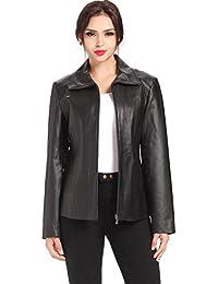 "BGSD Women's ""Tina"" Missy & Plus Size Vertical Seam Leather Scuba Jacket - Black Plus 1X"