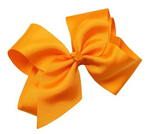 Beautiful Handmade Variety of Bright Colors Grosgrain Ribbon Bows with Alligator Clip (Orange) -