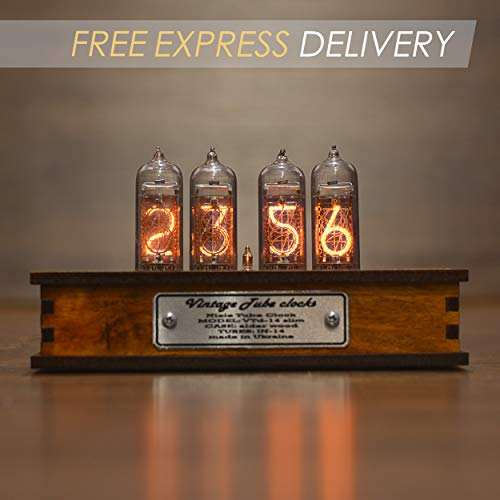 (Nixie Tube Clock 4x IN-14 Nixie Tubes Vintage Retro Desk Clock Fully Assembled and Tested Wooden Alder Case)