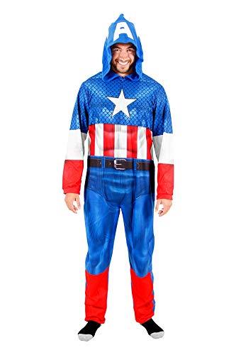 Captain America Adult Union Suit Costume Pajama Onesie with Hood (Adult -