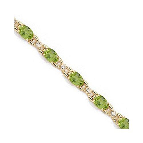 Diamond and Peridot Bracelet 14k Yellow Gold (10.26 ctw) ()