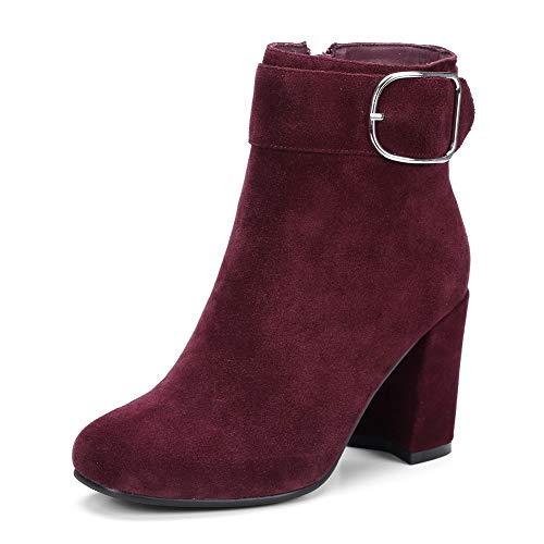 BalaMasa Womens Bucket-Style Nubuck Casual Claret Leather Boots ABM13643-5 B(M) US