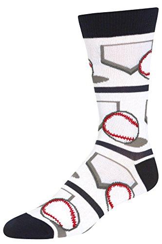 Baseball Mens Socks - Stith Men's Base-Ball Printed Dress Socks White Combo One Size