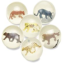 6 Clear Bouncy Balls with Animals - Mini Rubber Bouncing Ball Toys with Cat Family Animals Inside - Great Gift for Kids Party Favors, Prizes and Rewards – Small - by Gee Gadgets