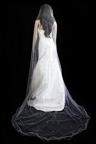Bridal Veil Diamond (Off) White1 Tier Cathedral Length With Scattered Rhinestone Velvet Veil