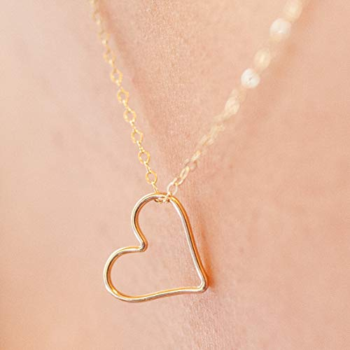Heart Wire Gold (Open Heart Necklaces for Women, 18
