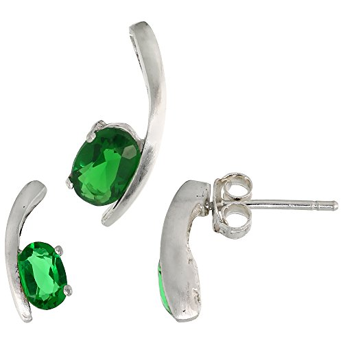 Fancy Colored Stone Sets (Sterling Silver Fancy Kink Earrings (12mm tall) & Pendant (16mm tall) Set, w/ Oval Cut Emerald-colored CZ Stones)
