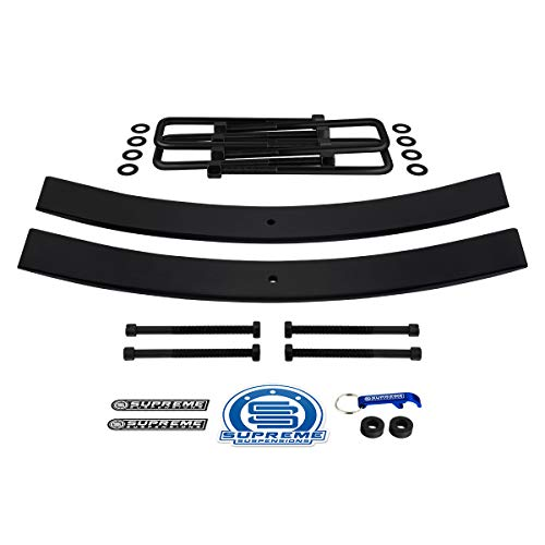 "Supreme Suspensions - Rear Leveling Kit for 1995-2019 Toyota Tacoma 1.5"" - 2"" Rear Suspension Lift High-Strength Steel Add-A-Leaf Kit (Short 21"") + Square Bend U-Bolts 2WD 4WD"