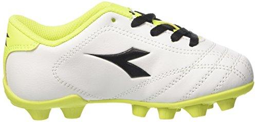 Diadora 6play MD Jr, Zapatillas de Fútbol Para Niños Blanco (Bianco Nero Giallo Fluo)