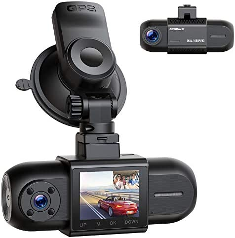 "Dual 1080P Dash Cam w/GPS, Campark Front and Inside Car Camera w/Infrared Night Vision, 1.5"" LCD Screen Wide Angle Dash Camera for Cars w/Parking Monitor G-Sensor Loop Recording, Support 256GB Max"