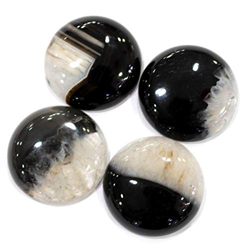 Icokarl 4pcs Coin Druzy Agate 25mm Natural Gemstone Cabochons CAB Loose Beads DIY for Pendant Ring Jewelry Making