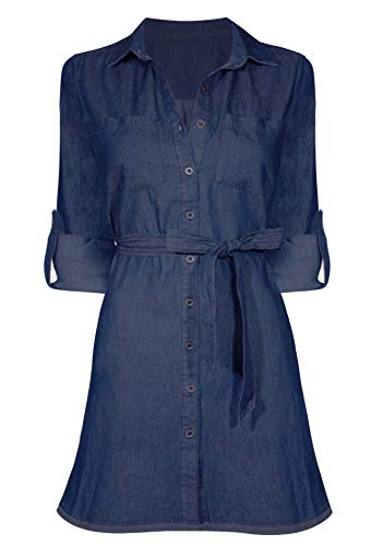 (HOT FROM HOLLYWOOD Women's Casual Button Down Cotton Denim Pocket Fitted Dress)