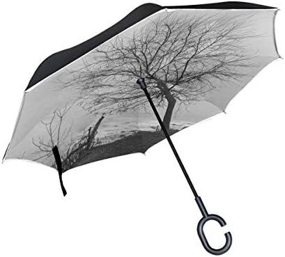 sfdgd Tree River Road Sun Block Travel Parapluie Coupe-Vent Portable Parasol Poignée en Forme de C