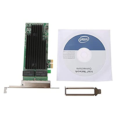 Tebatu 4-Port RJ45 Gigabit Ethernet PCI-Express X14 Server Adapter Network Card for Intel82575-T4 Chip