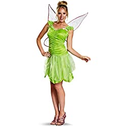 Disguise Women's Disney Fairies Tinker Bell Classic Costume, Green, Large