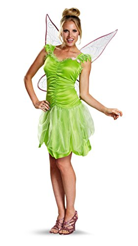 Disguise Women's Disney Fairies Tinker Bell Classic Costume, Green, Junior (size 7-9) (Tinkerbell Costumes For Teens)