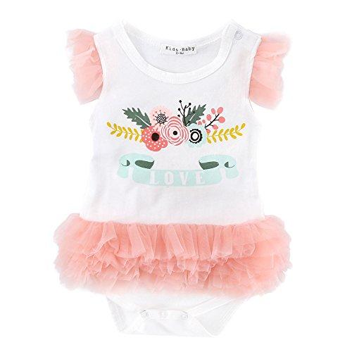 Sanlutoz Baby Girls' Tiny Dancer Ballerina Crawler Bodysuit Flower Print Pink Tulle (0-6M)