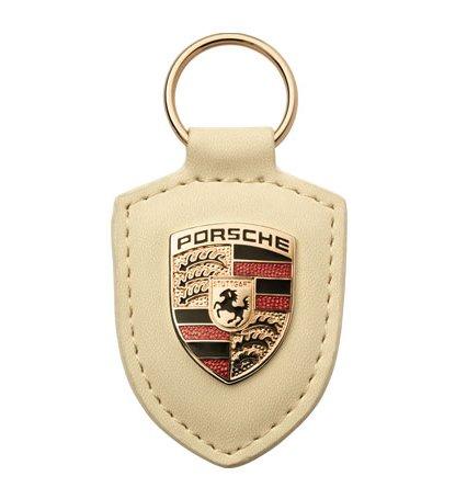 Crest Porsche Key (Genuine Porsche Leather Crest Key Fob WHITE Genuine keyring chain ring w/ emblem WAP0500960E,WAP 050 096 0E)