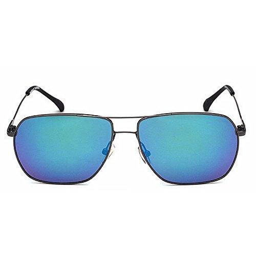 gafas la cuadrada día gafas Novedad los vendimia de Protección padre del de forma Brillantes Color de regalo de de UV diseñador del conducción metal sol de tonos hombres Azul Marco de Negro sol awzFPqxaH