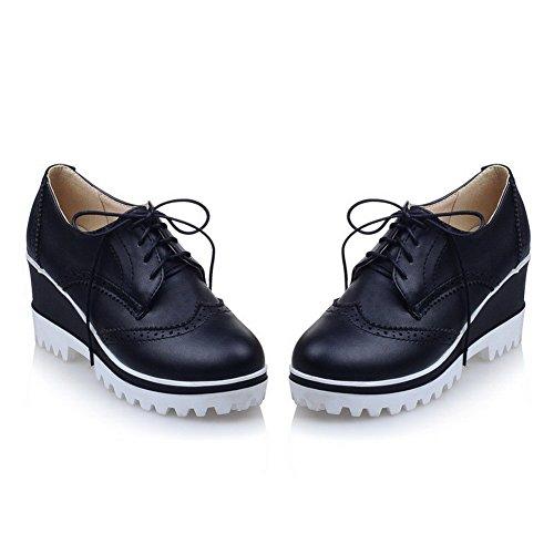 AllhqFashion Damen Weiches Material Rund Hoher Absatz Zehe Schnüren Rein Pumps Schuhe Schwarz