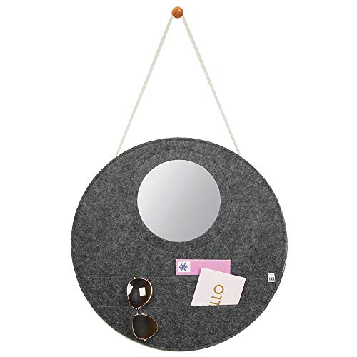 mDesign Decorative Soft Felt Hanging Storage Organizer - Round Mail Holder and Mirror with Rope, Wall Mount Wood Knob - 2 Wide Pockets - for Entryway, Bedroom, Home Office, Dorm Room - Charcoal Gray