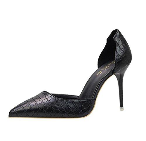 MAKEGSI Womens Pointed Toe Pumps High Heel Serpentine Pattern Shoes Black kINFHa