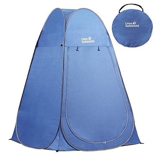 - Camp Solutions Portable Pop Up Privacy Shelter Dressing Changing Privy Tent Cabana Screen Room Weight Bag for Camping Shower Fishing Bathing Toilet Beach Park, Carry Bag Included (blue)