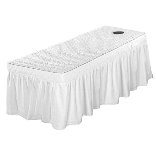 B Blesiya Fits 190x80cm Stationary and Portable Tables- Professional Massage Table Skirt Beauty Bed Cover Valance Sheet (21inch Drop Skirt) – White