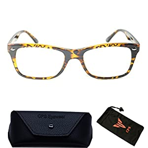 (#RG1002) Wayfarer Designer Nerd Square Leopard Tortoise Reading Glasses Women Men ReaderBrown 3.0