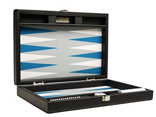 Silverman & Co. 13-inch Premium Backgammon Set - Travel Size - Black Board, White and Astral Blue Points