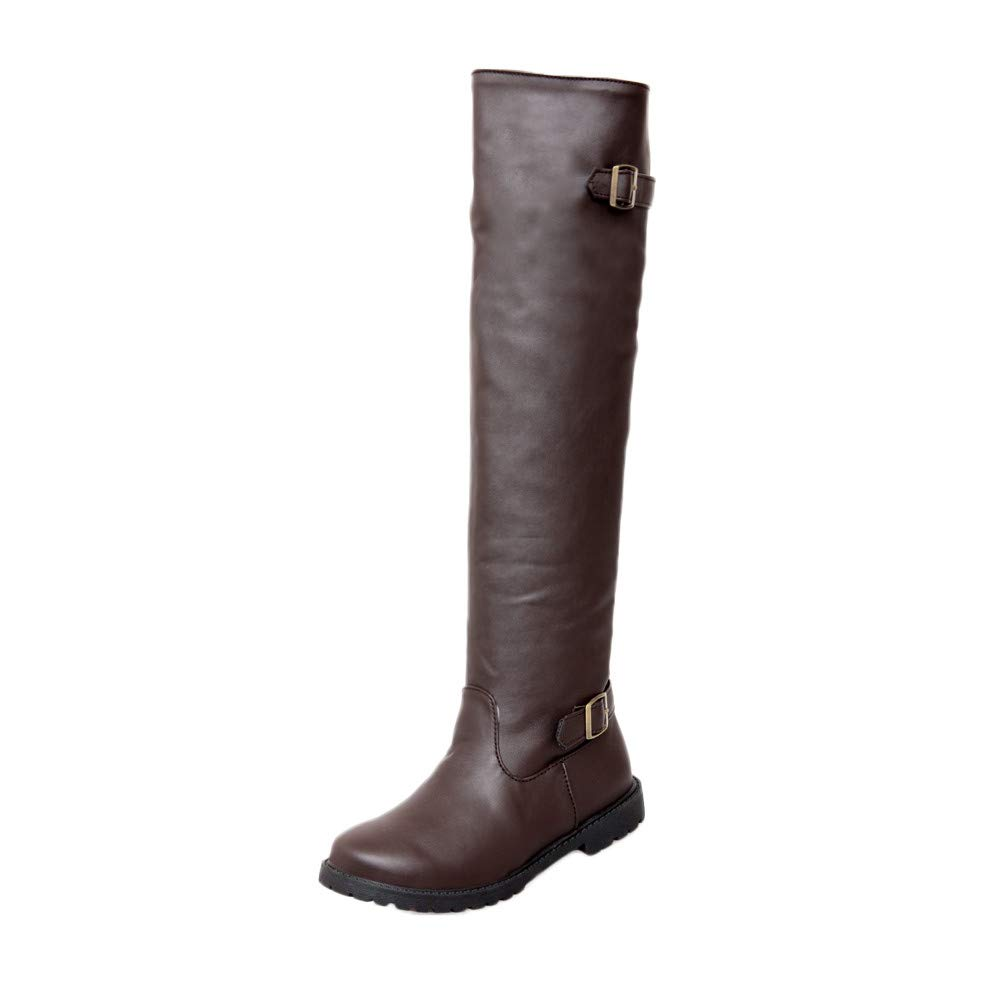 Amazon.com: AIMTOPPY, Casual Lady Solid Color Buckle High to Help Long Round Round Martin Boots: Computers & Accessories