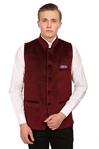Cotton Velvet Vest (WINTAGE Men's Velvet Grandad Collar Party Maroon Nehru Vest Waistcoat,52/5XL)