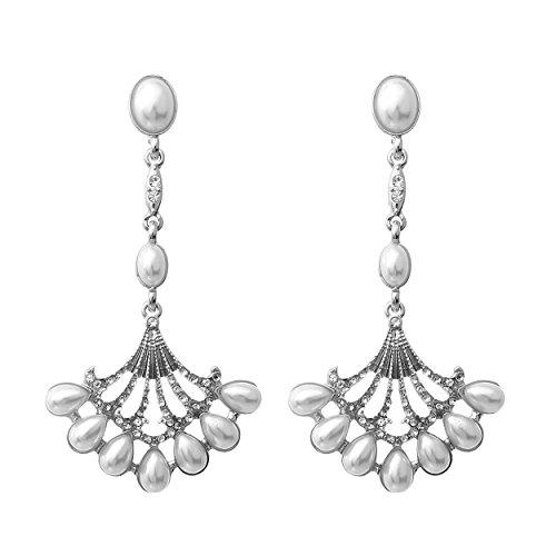 Rosemarie Collections Women's Faux Pearl Vintage Style Chandelier Dangle Earrings (Silver (Collection Chandelier Earrings)