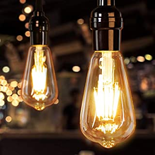 Brightown LED Bulbs 4 Packs 60 Watt Equivalent, Dimmable Edison Light Bulb 6W E26 Base Vintage Led Light Bulb, Amber Bulbs Warm White Light