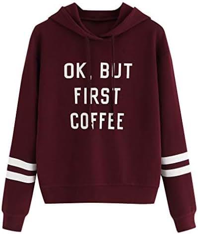 QIQIU Women Fashion Letters Hoodie Autumn Stirpe Print Long Sleeve Pullover Sweatshirt Blouses Tops