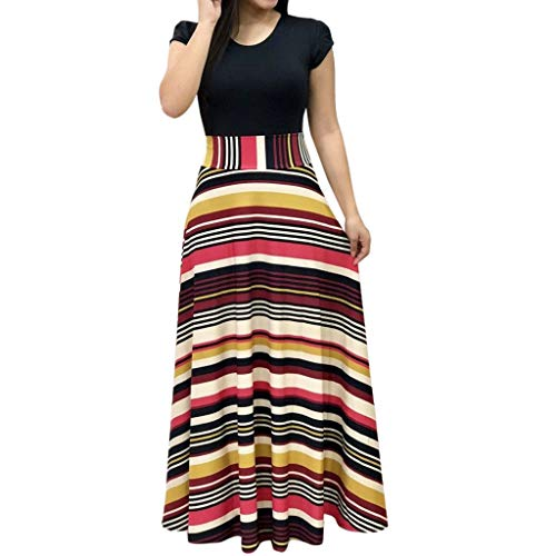 Women Dress, Women Casual Dresses Womens Fashion Casual Floral Printed Maxi Dress Short Sleeve Party Long Dress (Yellow c, M) ()
