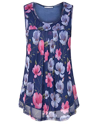 Furnex Business Shirts for Women for Work, Flowy Tank Tops Lightweight Tunics Shirts for Women Short Sleeve Comfy Tops Elegant Floral Pleated Front Swing Blouses for Leggings Large Multicolor Blue