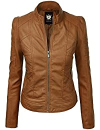 Women's Quilted Faux Leather Moto Biker Jacket