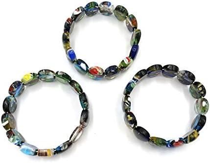 skyllc® Conjunto de 3 Oval Mezcla Forma Camuflaje del Color Murano Bolas Pulsera Brazalete de Cadena para Mujeres de Talla 18 * 13mm
