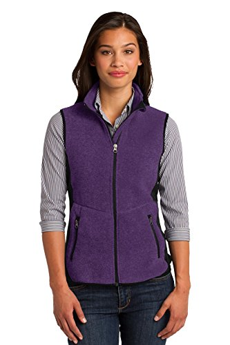 Port Authority Women's R Tek Pro Fleece Full Zip Vest L Purple Heather/ Black