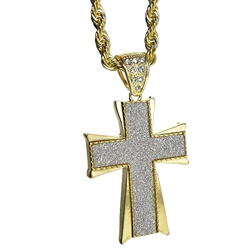 Bling Cartel Cross Pendant Jesus Piece Sandblast Iced Pendant Gold Plated Necklace 30 Inch Rope Chain
