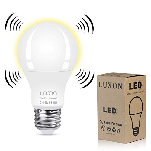 Bulbs Dusk to Dawn 5W LED Smart Light Motion E26 Base 2700K LED Light Bulbs Indoor Outdoor Auto On/Off Smart Bulb Soft White Night Lights by LUXON ()
